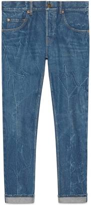 Denim tapered pant with embroidery $990 thestylecure.com