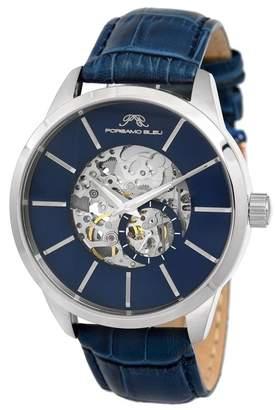 Porsamo Bleu Men's Cassius Skeleton Leather Strap Watch, 45mm