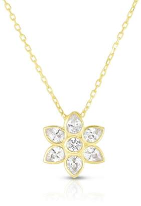 Sphera Milano 18K Gold Plated Sterling Silver CZ Floral Pendant Necklace