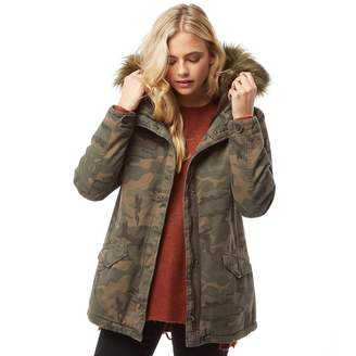 b016652f6d942 Only Womens Josephine Fur Parka Grape Leaf/Camo