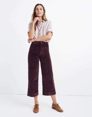 Tall Emmett Wide-Leg Crop Pants in Velveteen
