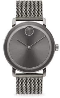 Movado Bold Round Ionic-Plated Grey Steel Bracelet Watch - Grey
