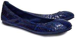 Tory Burch Printed Watersnake Eddie Ballet Flats: Blue