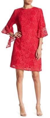 NANETTE nanette lepore Asymmetrical Bell Sleeve Lace Dress