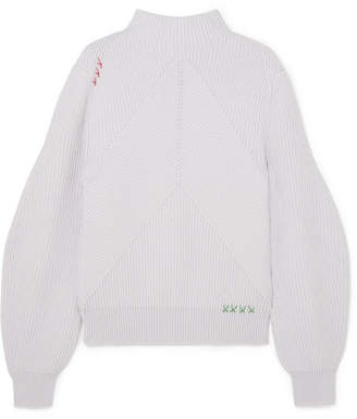 Carven Ribbed Merino Wool Sweater - Lilac