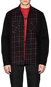 424 Men's Plaid Flannel-Inset Work Shirt - Black