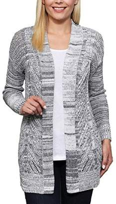 Leo & Nicole Leo and Nicole Womens Cardigan Long Sleeve Open Front Marled Rib Trim Pointelle Sweater