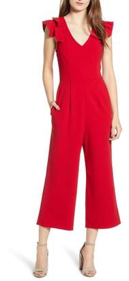 Speechless Ruffle Sleeve V-Neck Jumpsuit