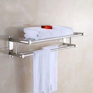 Yosoo YOSOO Stainless Steel Towel Rack Luxury Solid Polished Chrome Towel Rack Towel Wall Shelf Bathroom