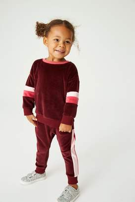Next Girls Berry Velour Colourblock Co-ord Top/Joggers Set (3mths-7yrs) - Red