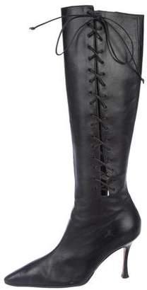 Manolo Blahnik Leather Knee-High Boots