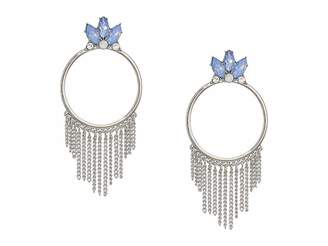 GUESS Stone Doorknocker Style with Chain Fringe Earrings