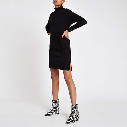 Womens Black high neck belted sweater dress