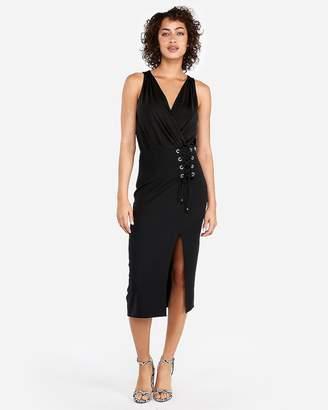 Express Lace-Up Midi Skirt
