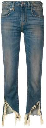 R 13 distressed hem jeans