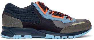 Lanvin Navy and Grey Mesh Cross Trainer Sneakers