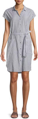 Velvet Sonay Striped Button-Front Shirtdress