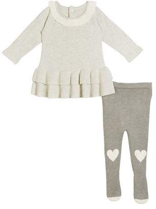 Miniclasix Two-Tier Ruffle Dress w/ Knit Heart-Knees Tights, Size 3-9 Months