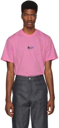 MSGM Pink Graffiti Logo T-Shirt