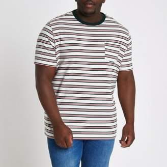 River Island Big and Tall white stripe slim fit T-shirt