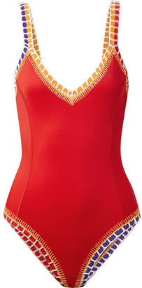 Kiini Kaia Crochet-trimmed Swimsuit - Red