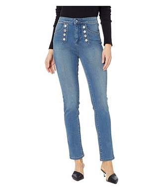 1 STATE 1.STATE Five-Pocket High-Rise Button Front Skinny Jeans in Mid Authentic Wash