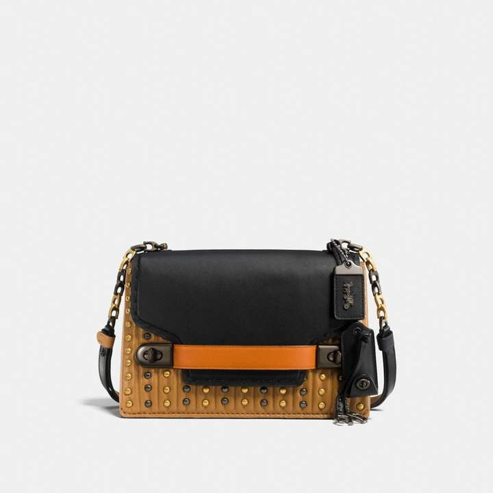 Coach Swagger Chain Crossbody With Colorblock Quilting And Rivets - BLACK MULTI/BLACK COPPER - STYLE