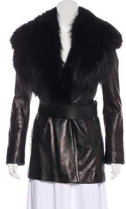 Prada Fox-Trimmed Leather Coat