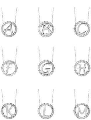 KC Designs 14k White Gold Diamond Initial Necklace