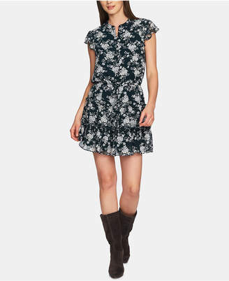 1 STATE 1.state Printed Button-Front Ruffled Shirtdress