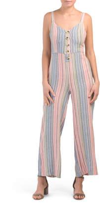 Juniors Stripe Linen Blend Jumpsuit