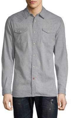 Scotch & Soda Ams Blauw Classic Western Cotton Button-Down Shirt