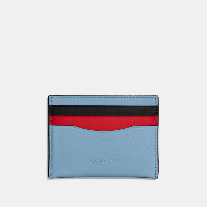 Coach  COACH Coach Flat Card Case In Colorblock Leather