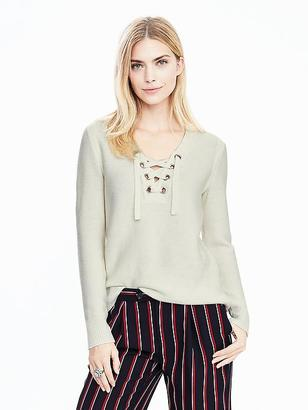 Lace-Up Vee Pullover $98 thestylecure.com