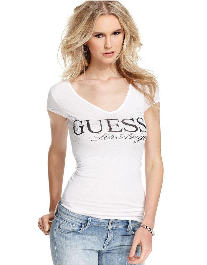 GUESS Top, Short-Sleeve V-Neck Logo Tee