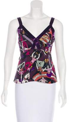 Clements Ribeiro Printed Sleeveless Silk Top
