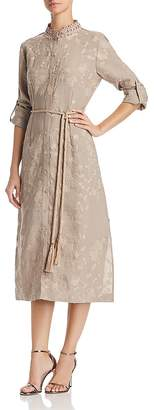 T Tahari Millie Embroidered Midi Shirt Dress