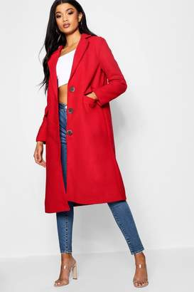 boohoo Lola Collared Wool Look Coat With Lining