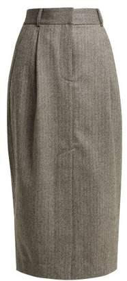 Tibi Herringbone Wool Pencil Skirt - Womens - Grey