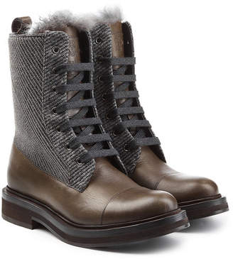 Brunello Cucinelli Leather Ankle Boots with Tweed