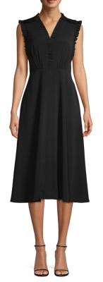 Vince Camuto Ruffle-Trimmed Midi A-Line Dress