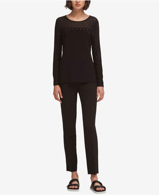 DKNY Mesh-Contrast Studded Top, Created for Macy's