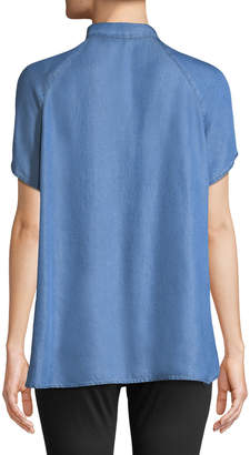 Chelsea & Theodore Split Neck High-Low Chambray Blouse