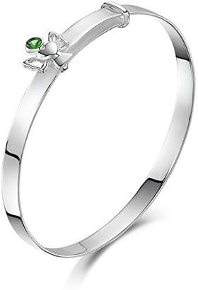 Jo for Girls Silver Expandable Baby Bangle with May Birthstone Angel of 40-47mm