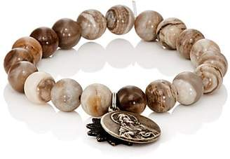 Miracle Icons Men's Vintage-Icon Beaded Bracelet - Silver