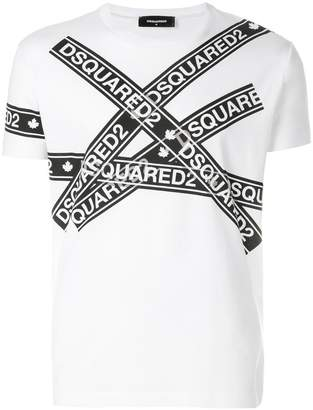DSQUARED2 logo tape print T-shirt
