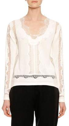 Ermanno Scervino Long-Sleeve Lace-Inset V-Neck Sweater