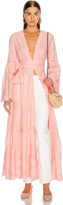 Leone We Are we are Embroidered Maxi Cardigan in Desert Pink | FWRD