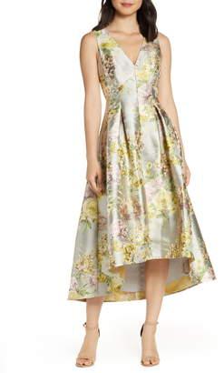 Eliza J Floral Jacquard High/Low Cocktail Gown