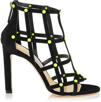 Jimmy Choo TINA 100 Black Suede Sandals with Shocking Yellow Neon Studs